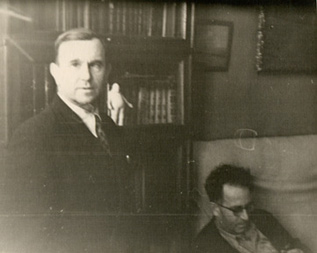 Vasily Grossman, sitting, and Nikolay Mikhailovich (Grossman�s brother-in-law and the model for Ivan Grigoryevich in EVERYTHING FLOWS), standing � mid- or late- 1950s. Thanks to Fyodor Borisovich Guber for allowing reproduction of this previously unpublished photo.